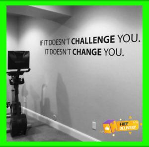 CHALLENGE Gym Workout Motivation Words Wall Decal Fitness Sport Sticker Decor