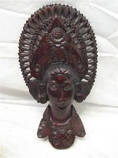 Vintage Bali Carved Wooden Indonesian Figure Wood Head Dress Wall Art Native