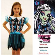 Monster High Frankie Stein Costume Glow in Dark Girls Halloween Fancy Dress 6-8y