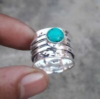 Turquoise 925 Sterling Silver Spinner Ring Meditation,statement ring Size SA.03