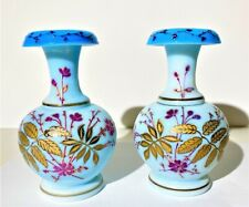 Pair Victorian Blue Opaline Enameled Glass Cabinet Vases ca 1890.
