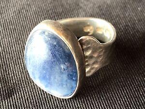 Bague Argent 925 Martelé Poincon Pierre Bleue Silver Blue Rock