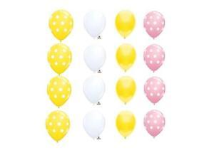 16 BALLOONS polka DOTS solids PINK LEMONADE set YELLOW picnic ANY OCCASION party