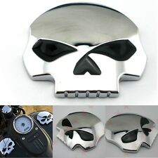 2PCS 3D Chrome Skull Bone Metal Emblem Badge Decals Sticker Car Motorcycle USA