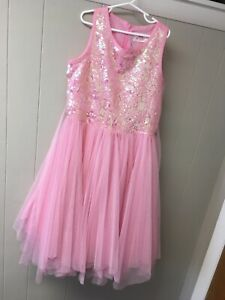 Justice Dress Pink Formal Tulle Skirt With Sequins Tie Back Size 14