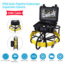 """9"""" 50M Drain Pipeline Endoscope Industrial Sewer Inspection Camera Video DVR 8GB"""