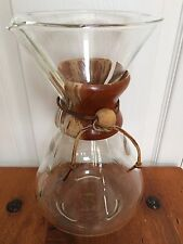 vtg Large CHEMEX PYREX Glass Coffee Maker GREEN stamp U.S Pat 2411340 RARE size