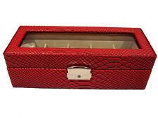 LOCKABLE RED BLACK 5 WATCH STORAGE DISPLAY JEWELLERY CASE BOX ALLIGATOR EFFECT