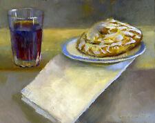 "Grape Juice with Danish on Plate 8""x10"" Original Oil on panel  By HALL GROAT II"