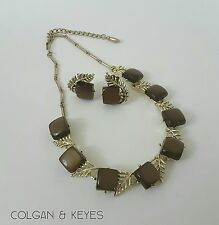 VTG CORO Brown Gold Tone Thermoset Lucite Cabochon Choker Necklace Earrings Set