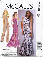 McCalls Sewing Pattern 7540 Misses 6-14 Maxi Dress Top Mermaid Skirt Jumpsuit