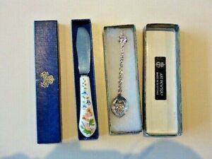 AYNSLEY ENGLAND BUTTER KNIFE BUTTERFLIES + ART PEWTER SCOTLAND SPOON -BOTH BOXED