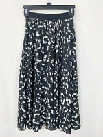 H&M Skirt 0 Black Floral Pleated Black Career Workwear