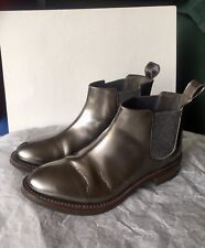 Brunello Cucinelli 37 7 Ankle Flat Boots Metallic Chelsea GUC Made In Italy