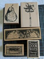 NEW! RARE! Lot Of 5 Assorted Gr8 Stampers Anonymous Wood Mount Rubber Stamps