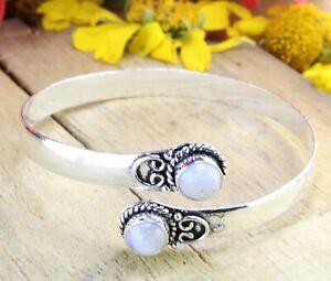 Rainbow Moonstone Gemstone Handmade 925 Sterling Silver Jewelry Bangle Sz 7-8