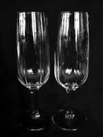 Set of 2 Crystal Blown Glass Champagne Toasting Flutes - Wedding/Anniversary