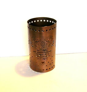 Punched Copper Candle Holder Home Sweet Home