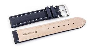 Cinturino Orologio Fibbia Ad Ardiglione IN Pelle con Cuciture XXL Blu Scuro 20mm