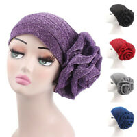 Muslim Women Large Flower Cancer Chemo Hat Hijab Hair Loss Head Scarf Turban Cap