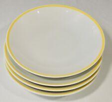 4 Rosenthal Thomas Germany Coupe Soup Bowls Yellow Trim Band EUC