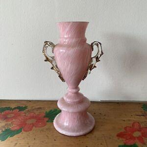 Victorian Decorative White Pink Opaque Hand Blown Swirl Glass Vase Jar