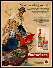 1950 Budweiser Beer - Fishing - Man & Wife - Fish Net - Tackle Box Vintage Ad