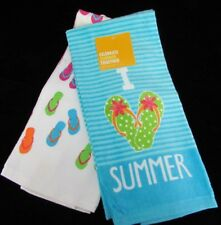 I Love Summer Flip Flops Decorative Kitchen Towel 2 Pack Hand Towel Turquoise