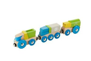 EverEarth Recycling Train and 2 Wagons EE33656 Wooden Toy for 3 years plus