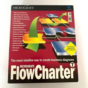 MicroGrafx FlowCharter 7 PC CD draw business diagram flow charts template tools