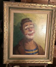 Mid-Century Ed. Fisher Impressionist Clown Oil Painting in Mid-Century Frame