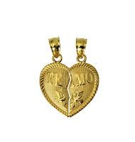 14K Solid Yellow Gold Te Amo Small Heart Split Breakable Broken Charm Pendant