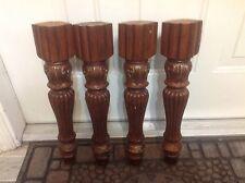 """18B VTG Carved Fluted Legs Set Of 4 Wood 16"""" Long"""