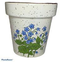 Small Ceramic Plant Succulent Pot Planter Blue Flowers