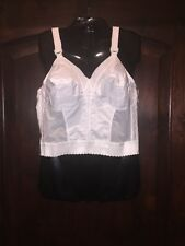 Sears Exquisite Form White Wirefree Longline Sissy Vinttage Look Bra Size 36 C