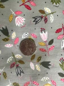 Organic Grey/Navy Floral French Terry Jersey - Per 1/2 Metre - Free Economy P&P