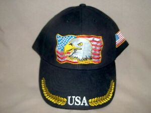 American Eagle with Gold Vine 100% Cotton Ball Cap, Unisex