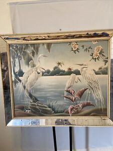 1950's Vintage Mid Century Modern Turner Heron Print Framed. Signed