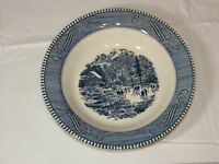 """Vintage Royal Currier & Ives Early Winter Blue White 8 1/2"""" Soup / Cereal Bowl ~"""