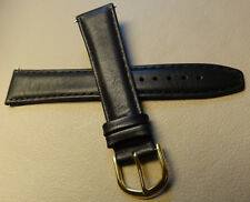 New Mens Timex Black Padded Calfskin Leather 19mm Regular Watch Band Strap