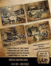 Primitive Early Days Christmas Farm Cabin Prairie Inn Labels Set of 4 • #16112