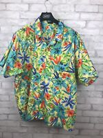 Vintage Yellow Hawaiian Tropical Shirt Short Sleeve Edwards Men's Size 3XL