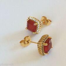 MS Red ruby & sim diamond 11mm square stud earrings 18k GOLD GF Plum UK BOXED