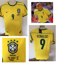 Il BRASILE RONALDO MONDIALI 98 Calcio Casa Maglietta Jersey 1998/2000 piccola stile retrò