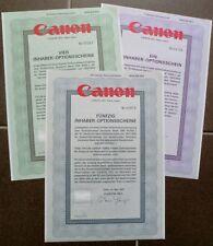 JAPAN:  3er-Lot Canon Inc., Tokio, 1991 (1/4/50 Inhaber-Optionsscheine)
