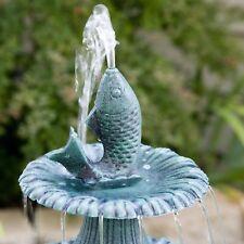 Bird Bath Water Fountain Stand Outdoor Antique Feeder Yard Garden Pedestal Pump