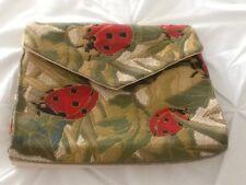 LadyBug Print Brocade Fabric Clutch Bag by Iris Sands New York
