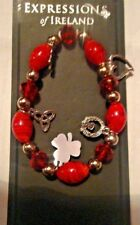 ireland irish RED BEADS CHARM BRACLET CLADDAGH SHAMROCK silver plated