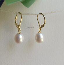 Genuine 9-10mm drop freshwater pearl in sterling silver dangle earring Golden