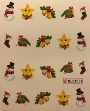 Nail Art Water Decals Christmas Snowman Stars Bells Stockings Holidays BLE1584